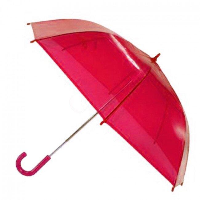 Transparentní poloautomatický deštník – růžová
