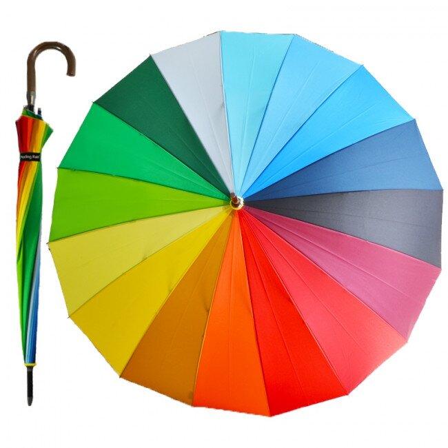 Poloautomatický deštník – duhová