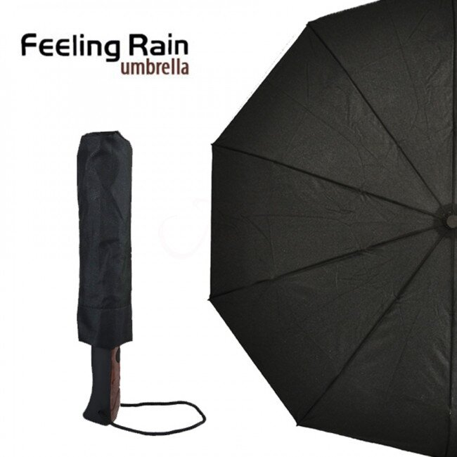 Skládací automatický deštník s poutkem – černá