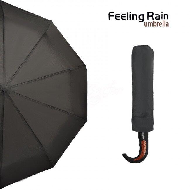 Skládací automatický deštník se zahnutým madlem – černá