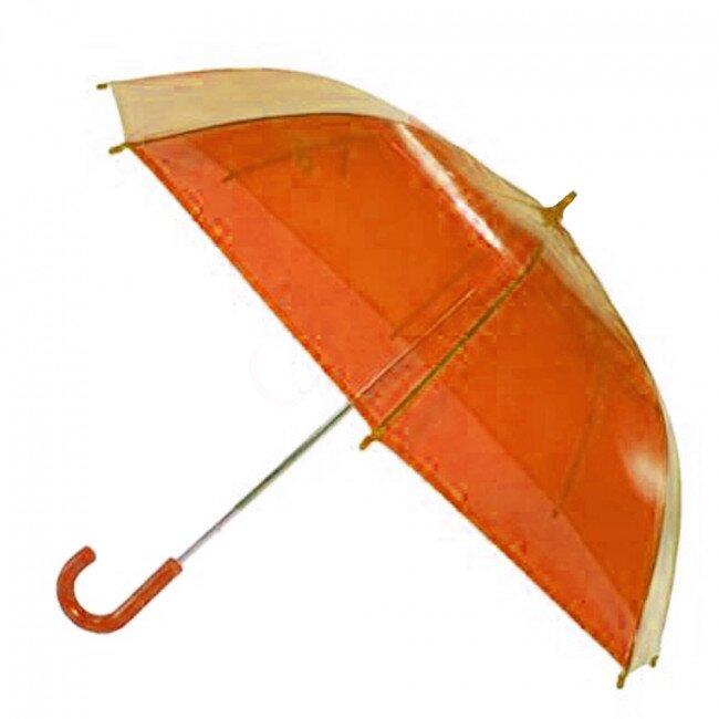 Transparentní poloautomatický deštník – oranžová