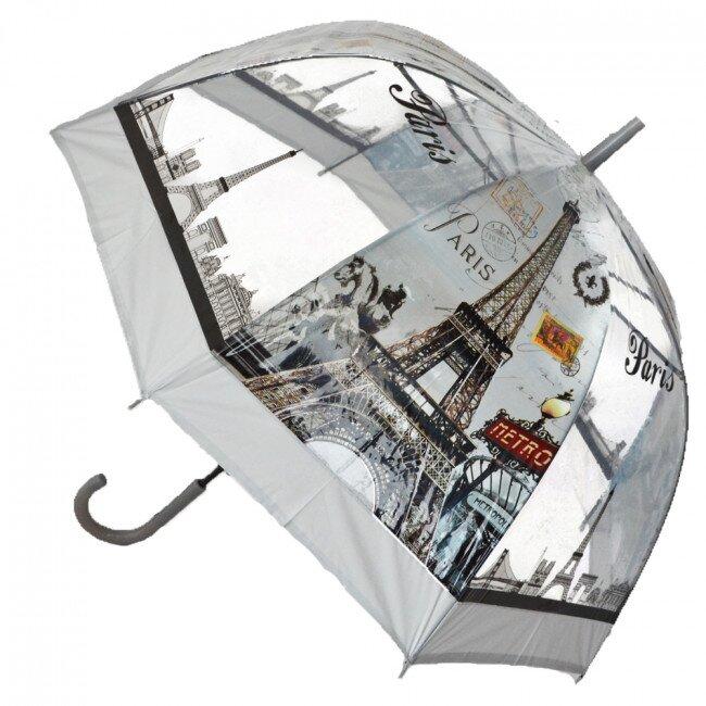 Poloautomatický deštník Paříž – šedá