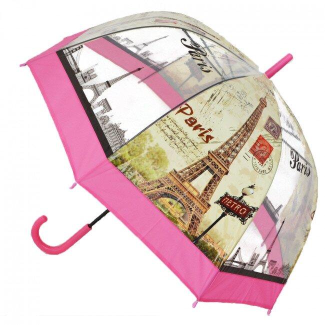 Poloautomatický deštník Paříž – růžová
