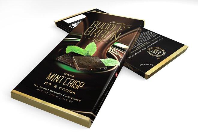 Hořká čokoláda s mátovými křupinkami, 57 % kakaa