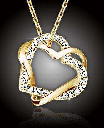 Pozlacená propletená srdce s čirými krystaly