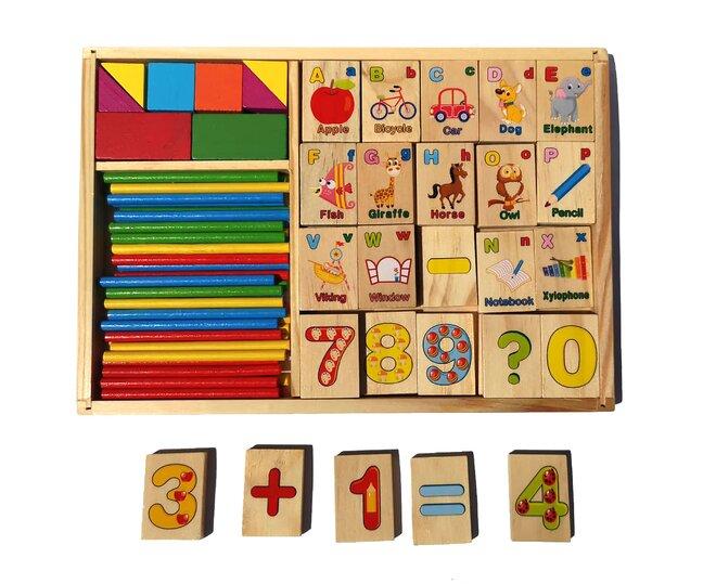 Multifunkční vzdělávací dřevěná krabička – abeceda