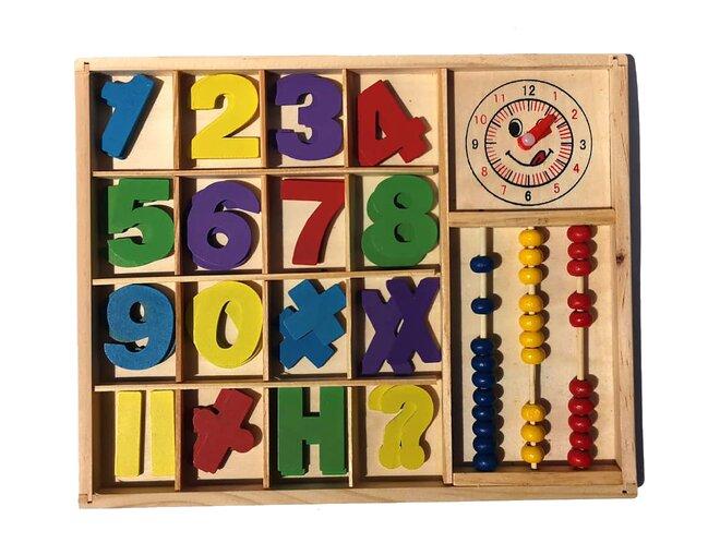 Multifunkční vzdělávací dřevěná krabička – čísla