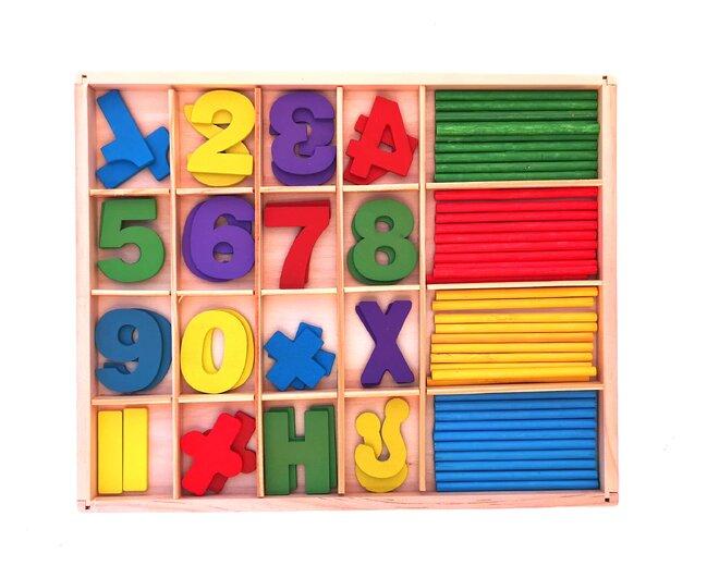 Multifunkční vzdělávací dřevěná krabička – čísla II