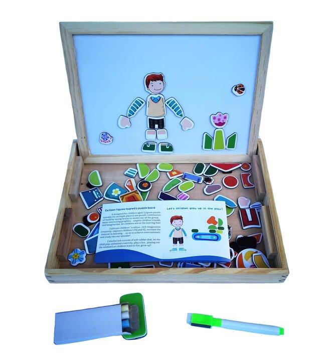 Dřevěná magnetická tabulka s magnetkami 3 v 1 – pro kluky