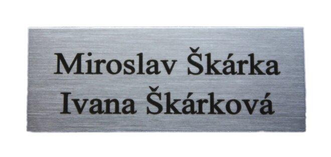 Mosazná jmenovka – stříbrná broušená, 8 x 3 cm