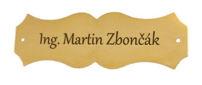 Mosazná jmenovka – zlatá lesklá, 12 x 4 cm