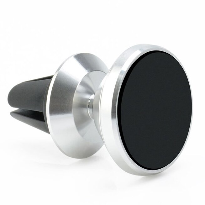 Otočný magnetický držák na mobil do mřížky ventilátoru stříbrný