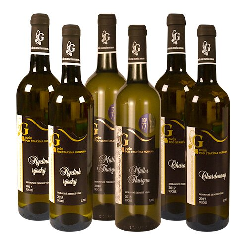 2x Müller Thurgau, 2x Ryzlink Rýnský, 2x Chardonnay