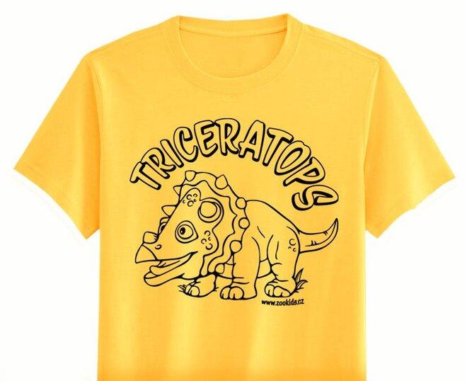 Vybarvovací tričko s potiskem TRICERATOPS, žluté