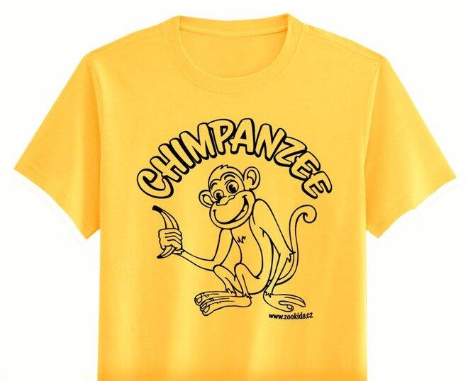 Vybarvovací tričko s potiskem OPIČKA, žlutá