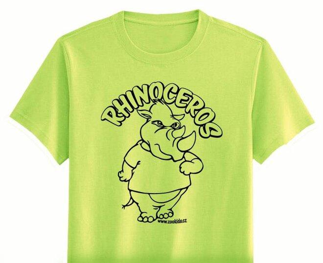 Vybarvovací tričko s potiskem NOSOROŽEC, zelené