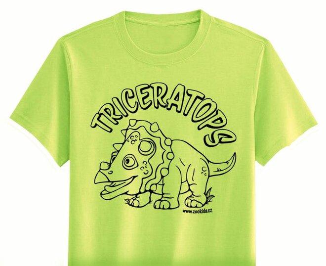 Vybarvovací tričko s potiskem TRICERATOPS, zelené