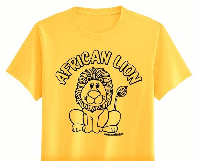 Vybarvovací tričko s potiskem LVÍČKA, žluté
