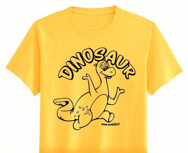 Vybarvovací tričko s potiskem DINOSAURA, žluté