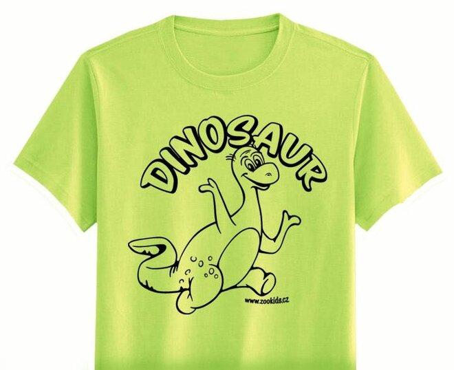 Vybarvovací tričko s potiskem DINOSAURA, zelená