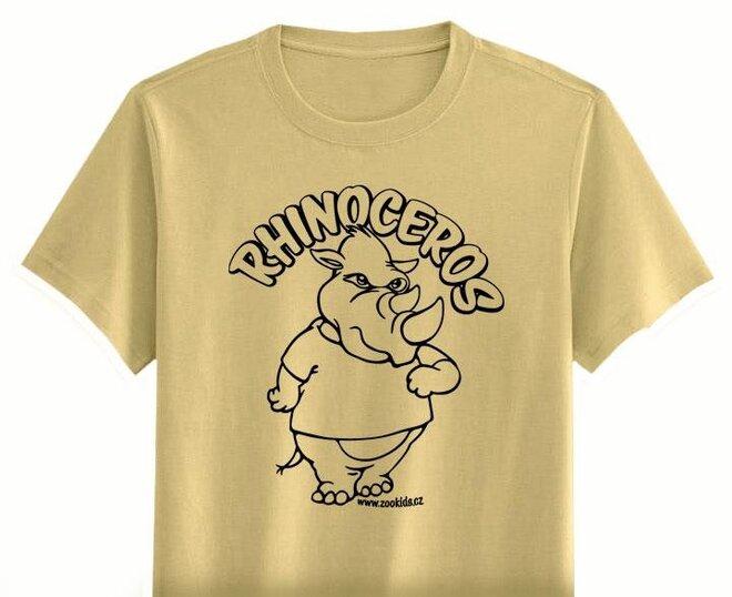 Vybarvovací tričko s potiskem NOSOROŽEC, béžová