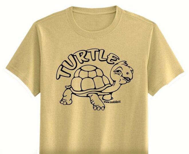 Vybarvovací tričko s potiskem ŽELVA, béžová