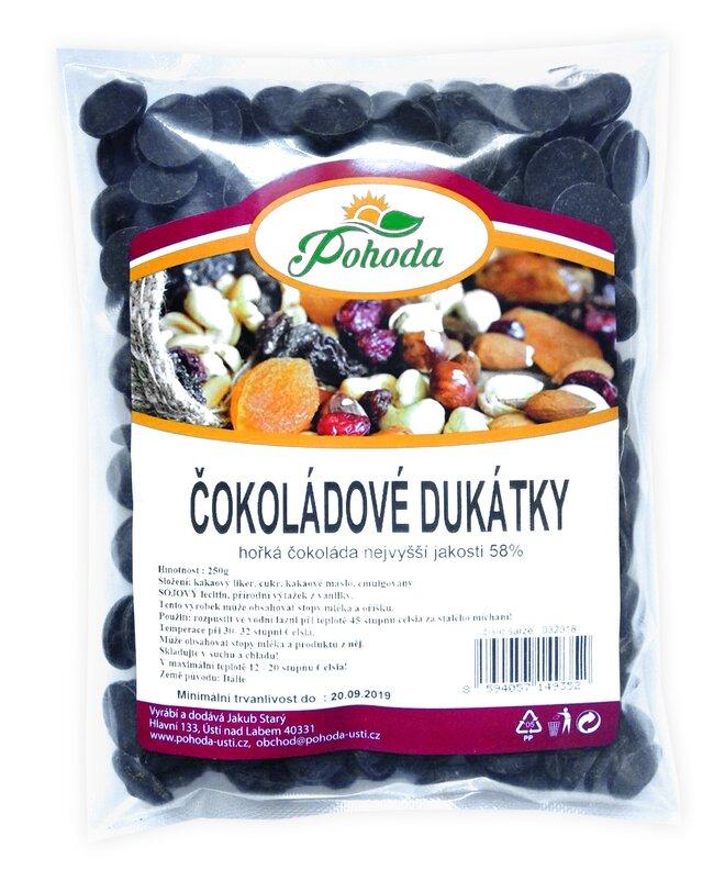 Dukátky z hořké čokolády (58 %), 250 g