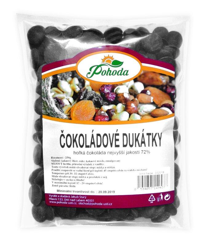 Dukátky z hořké čokolády (72%), 250 g