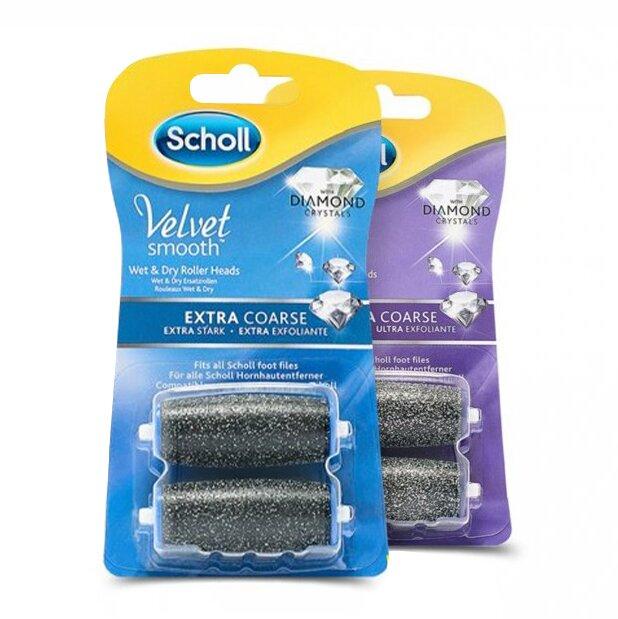 2 sady náhradních hlavic Scholl Velvet Smooth Extra + Gentle (4ks)