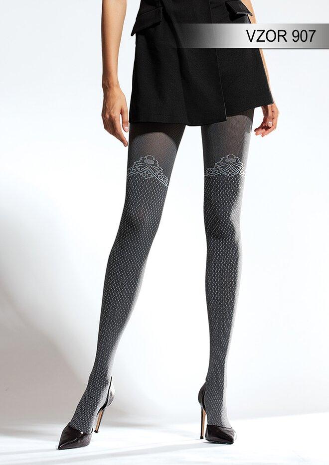 Vzorované punčochové kalhoty vzor 907