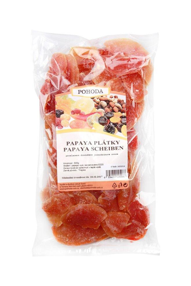 Papaya plátky, 500 g