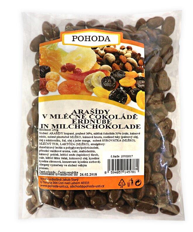 Arašídy v mléčné čokoládě, 250 g