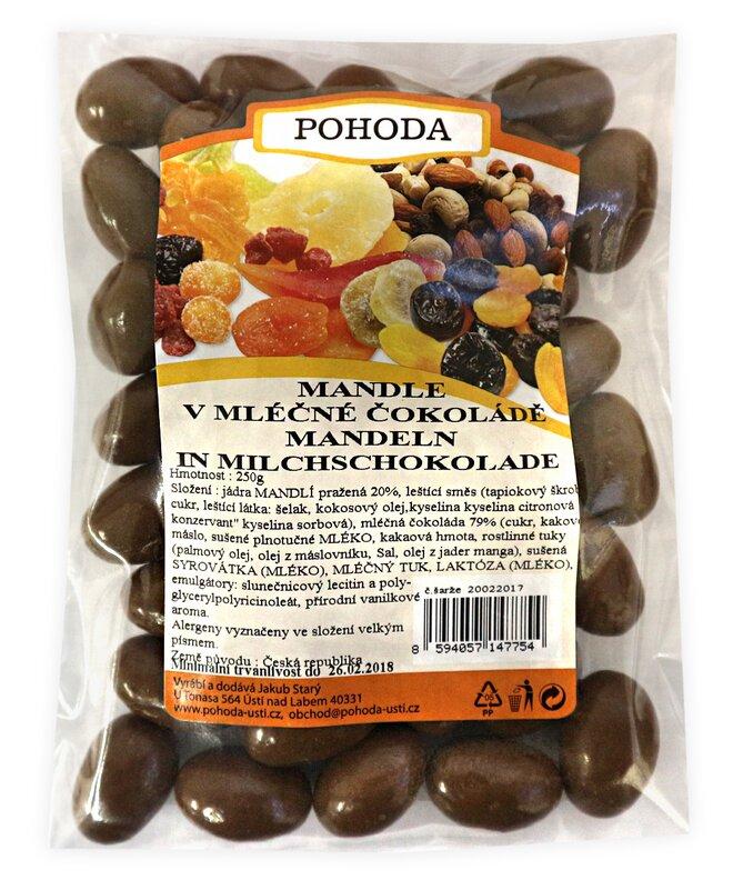 Mandle v mléčné čokoládě, 250 g
