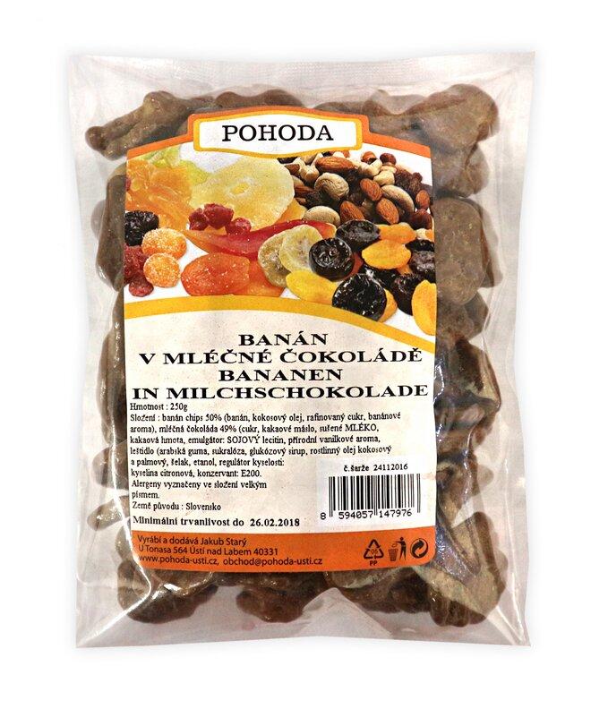 Banán v mléčné čokoládě, 250 g
