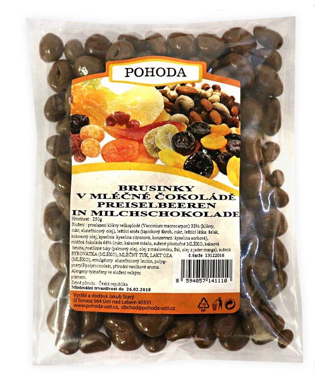 Brusinky v mléčné čokoládě, 250 g