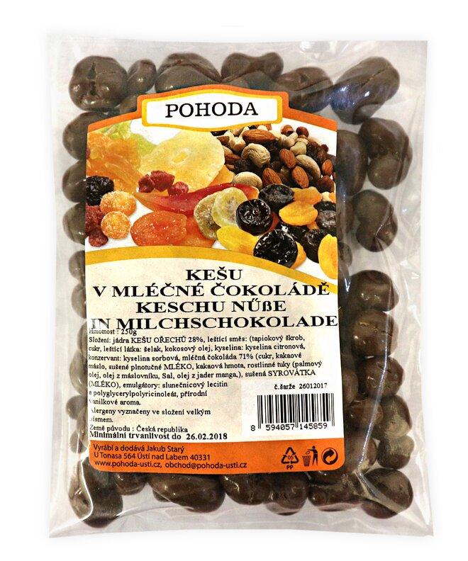 Kešu v mléčné čokoládě, 250 g