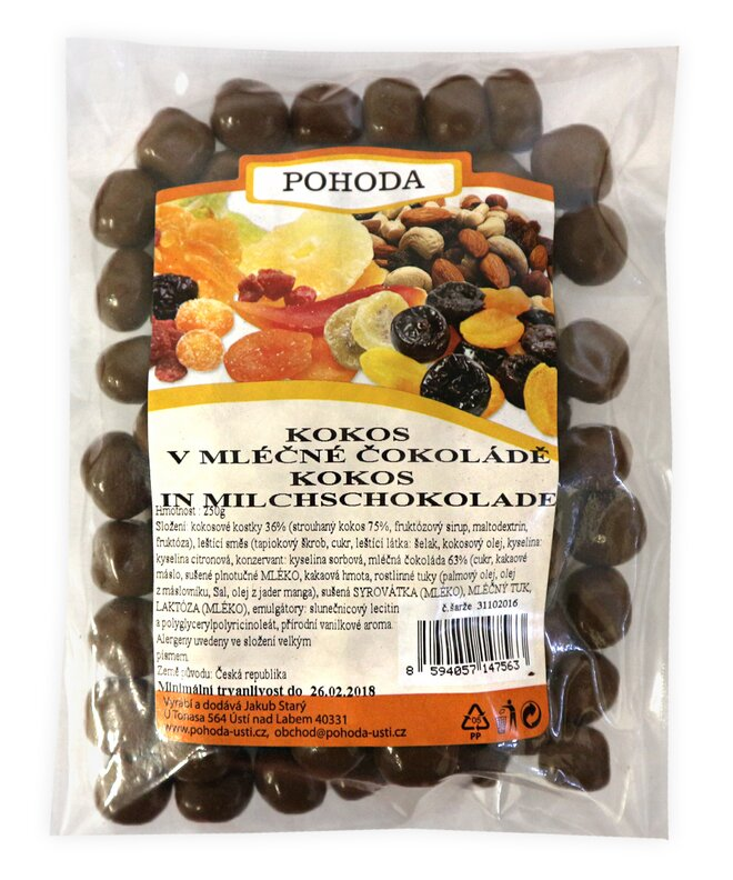 Kokosové kostky v mléčné čokoládě, 250 g