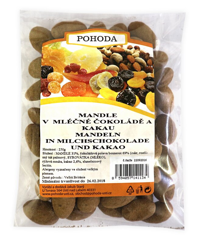 Mandle s kakaem v mléčné čokoládě, 250 g