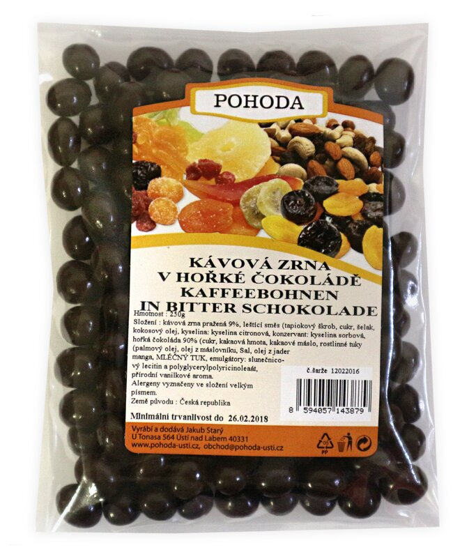 Kávová zrna v hořké čokoládě, 250 g