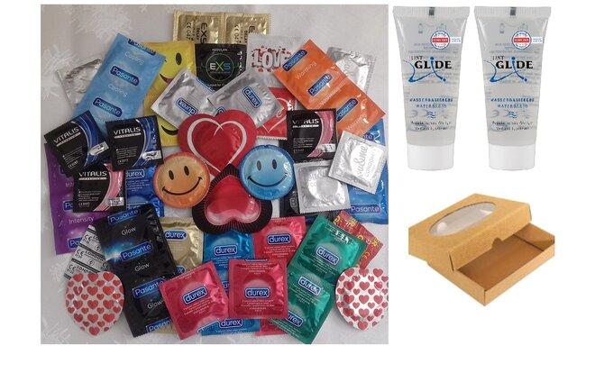 Luxusní set 48 ks v dárkové krabičce + 2× lubrikační gel Just glide, 20 ml