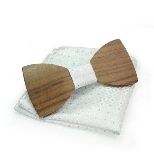 Dřevěný motýlek s kapesníčkem, vzor B02