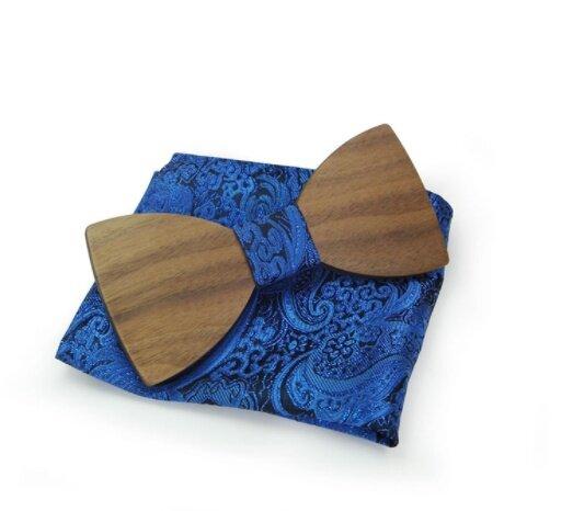 Dřevěný motýlek s kapesníčkem, vzor B04