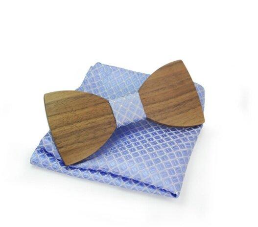 Dřevěný motýlek s kapesníčkem, vzor B06