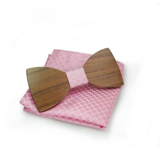 Dřevěný motýlek s kapesníčkem, vzor B08