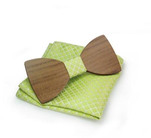 Dřevěný motýlek s kapesníčkem, vzor B10
