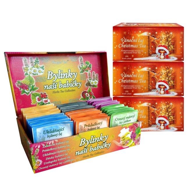 Ovocný kořeněný čaj a Bylinky naší babičky (120 porcovaných čajů)