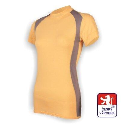 Dámské funkční tričko krátký rukáv – béžovo-šedá