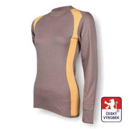Dámské funkční tričko dlouhý rukáv – šedo-béžová