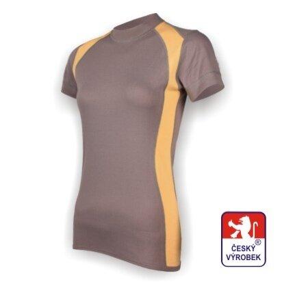 Dámské funkční tričko krátký rukáv – šedo-béžová