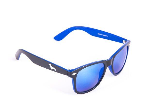 Černo-tmavě modré brýle Kašmir Wayfarer - skla modrá zrcadlová